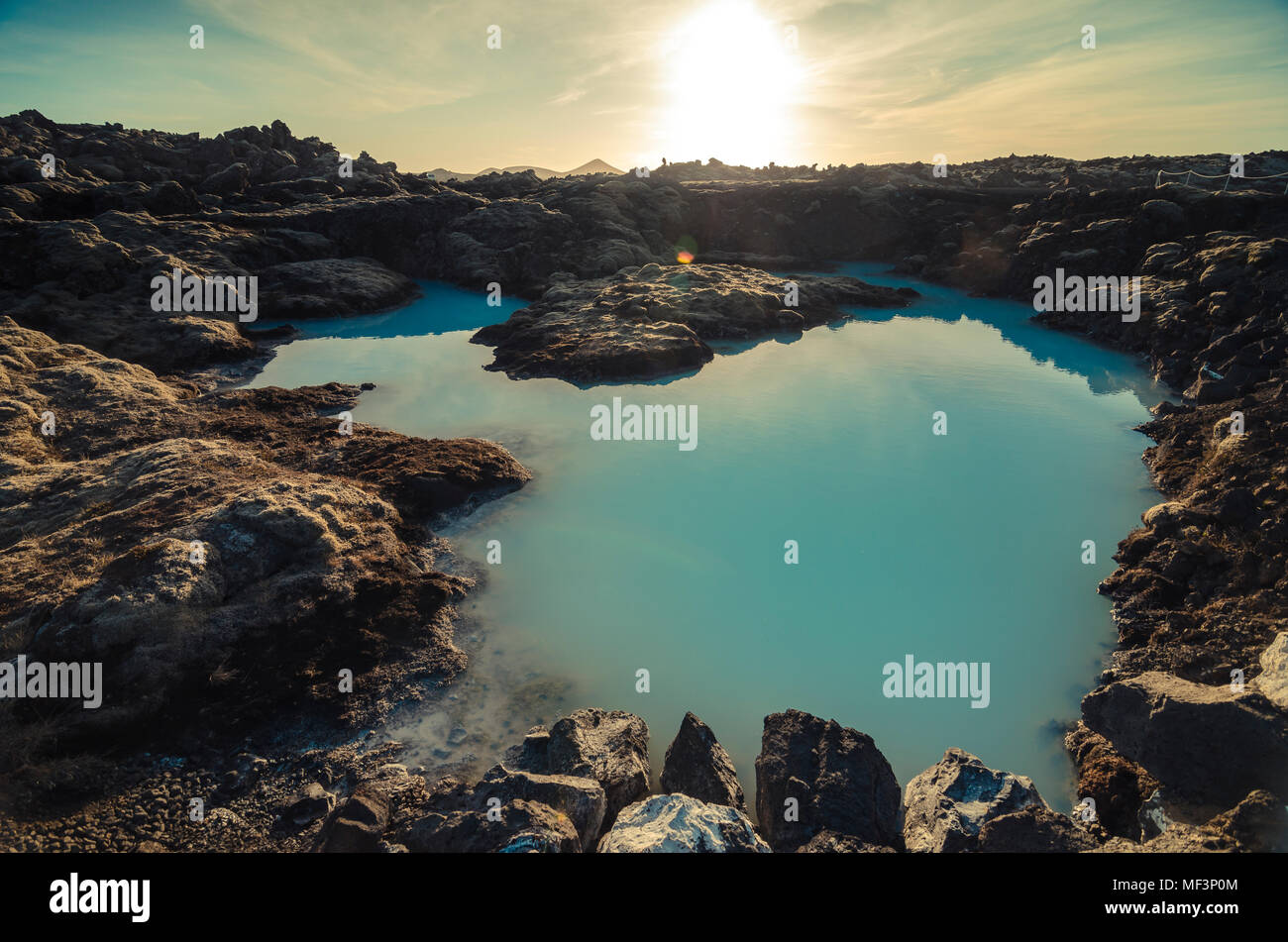 Iceland, artificial lake near geothermal area Blue Lagoon - Stock Image