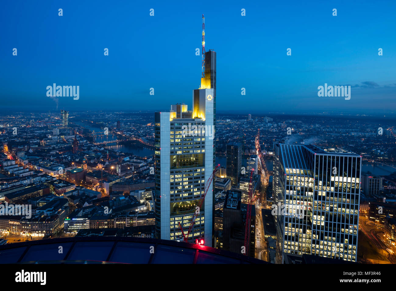 Germany, Hesse, Frankfurt, Financial district, Commerzbank Tower at blue hour Stock Photo