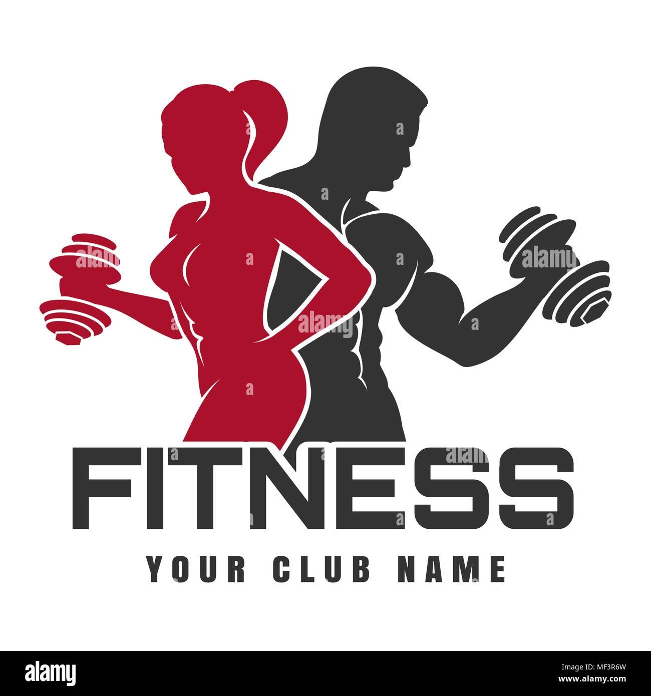 fitness club emblem or logo design training man and woman
