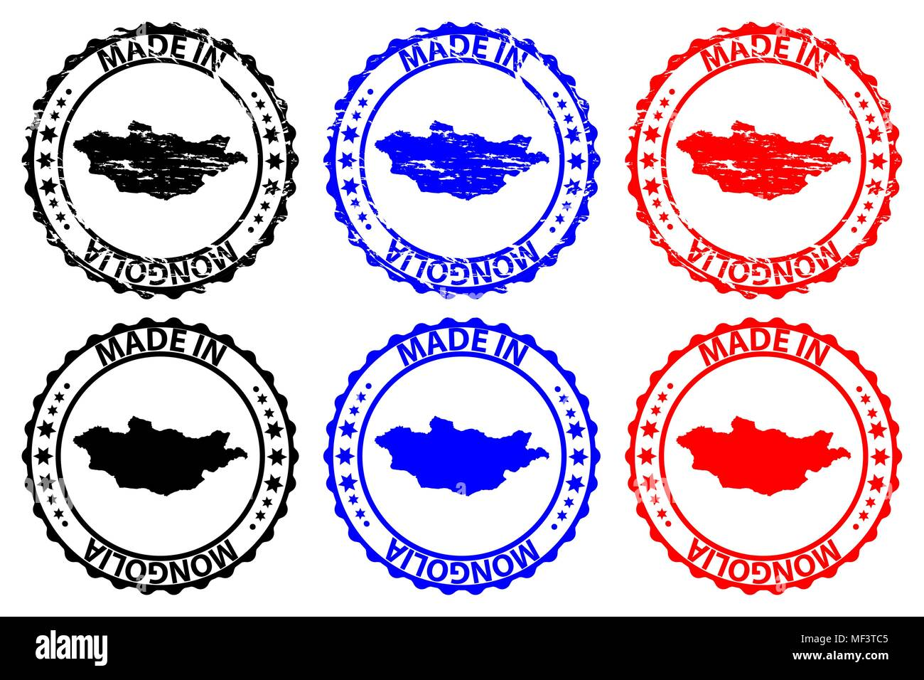 Made in Mongolia - rubber stamp - vector, Mongolia map pattern - black, blue and red - Stock Vector