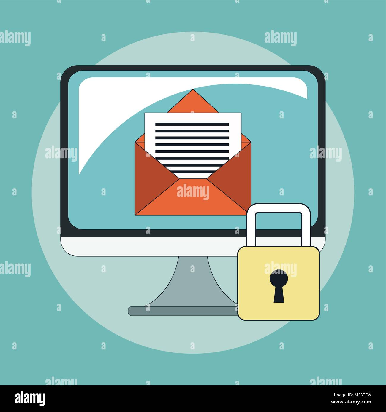 Secure mailing for computer - Stock Vector