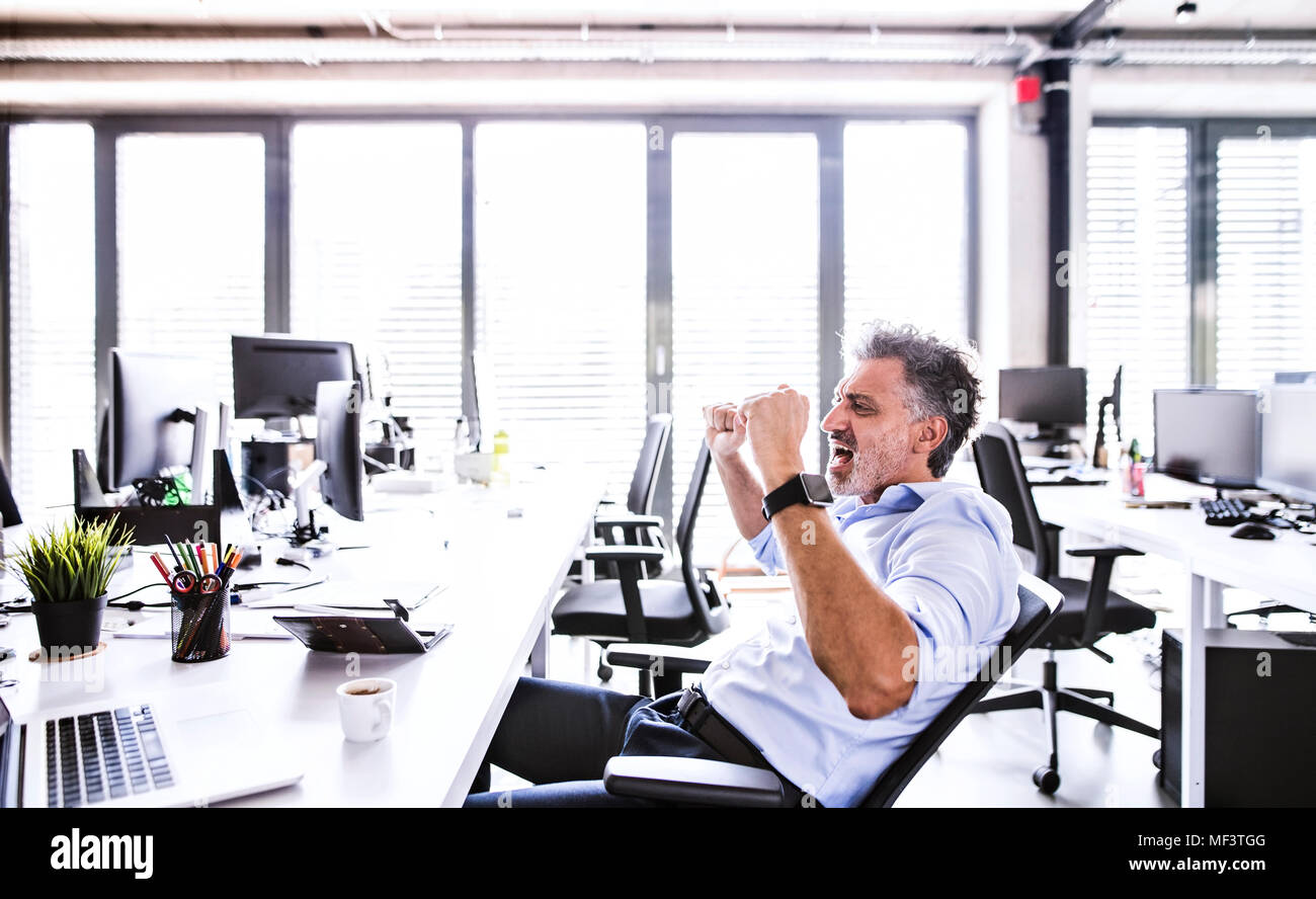 Happy mature businessman cheering at desk in office - Stock Image