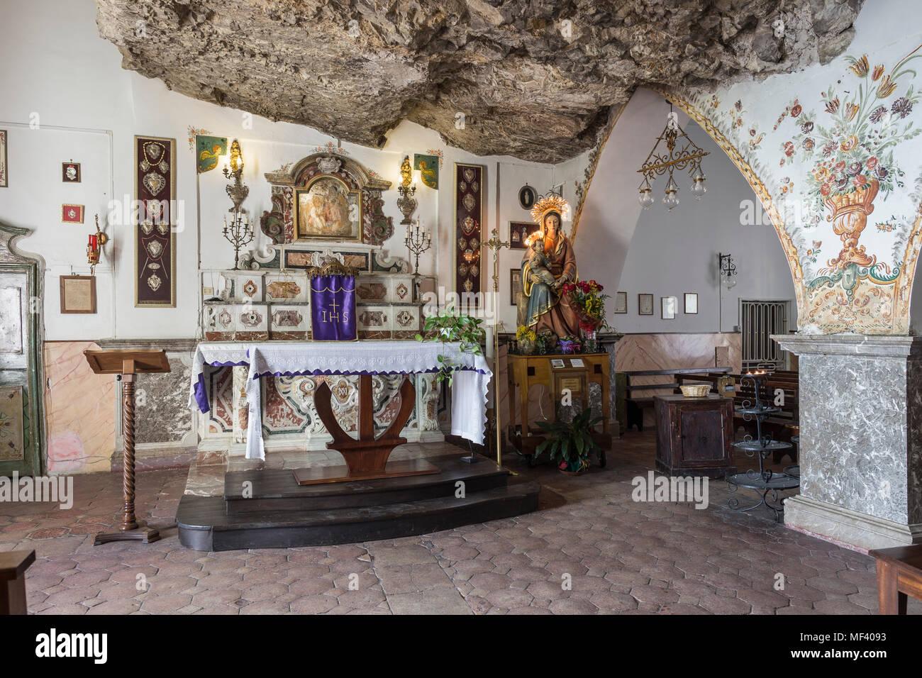 Inside the Madonna della Rocca sanctuary, Taormina, Sicily. - Stock Image