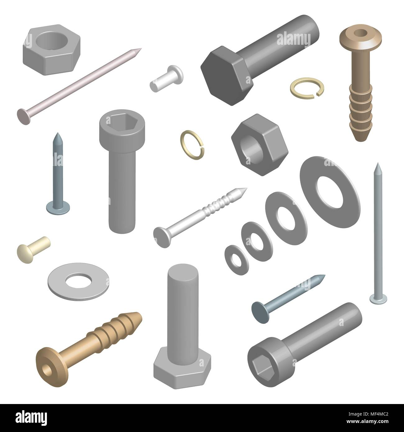 Set of different fasteners isolated on white background. 3D isometric style, vector illustration. - Stock Image