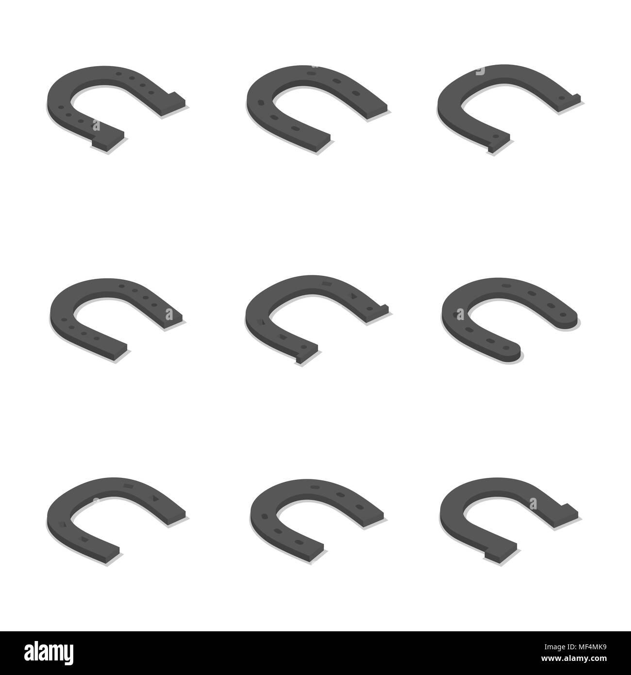 Set of different horseshoes isolated on white background. Flat 3D isometric style, vector illustration - Stock Image