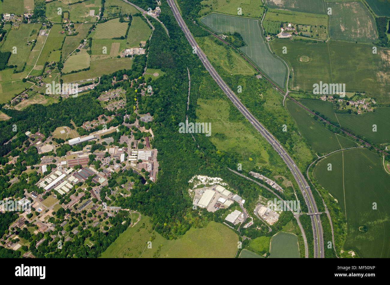 Aerial view of Fort Halstead, home to the Defence Science and Technology Laboroatory run by Qinetiq for the Ministry of Defence.  Sunny summer day nea - Stock Image