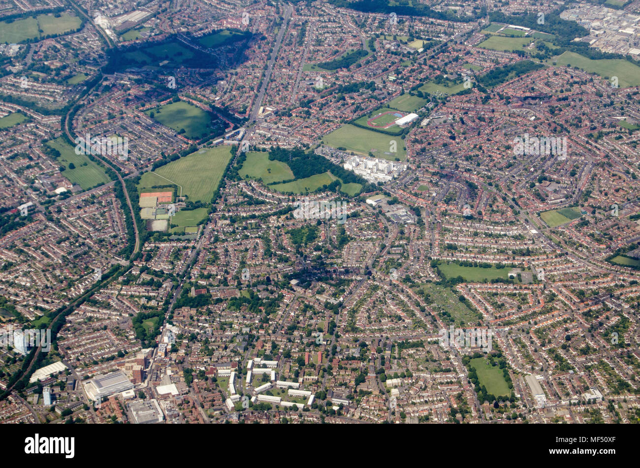 Aerial view of the London Borough of Sutton including the St Helier Hospital and David Weir Leisure Centre plus the Morden depot of the Northern Line  - Stock Image