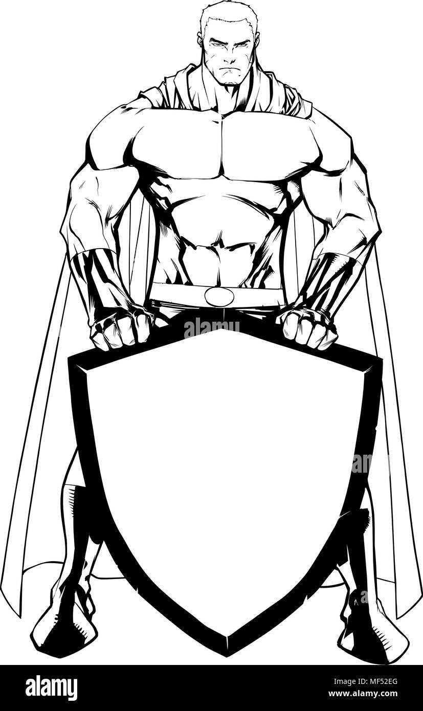 Superhero Holding Shield No Mask Line Art - Stock Image