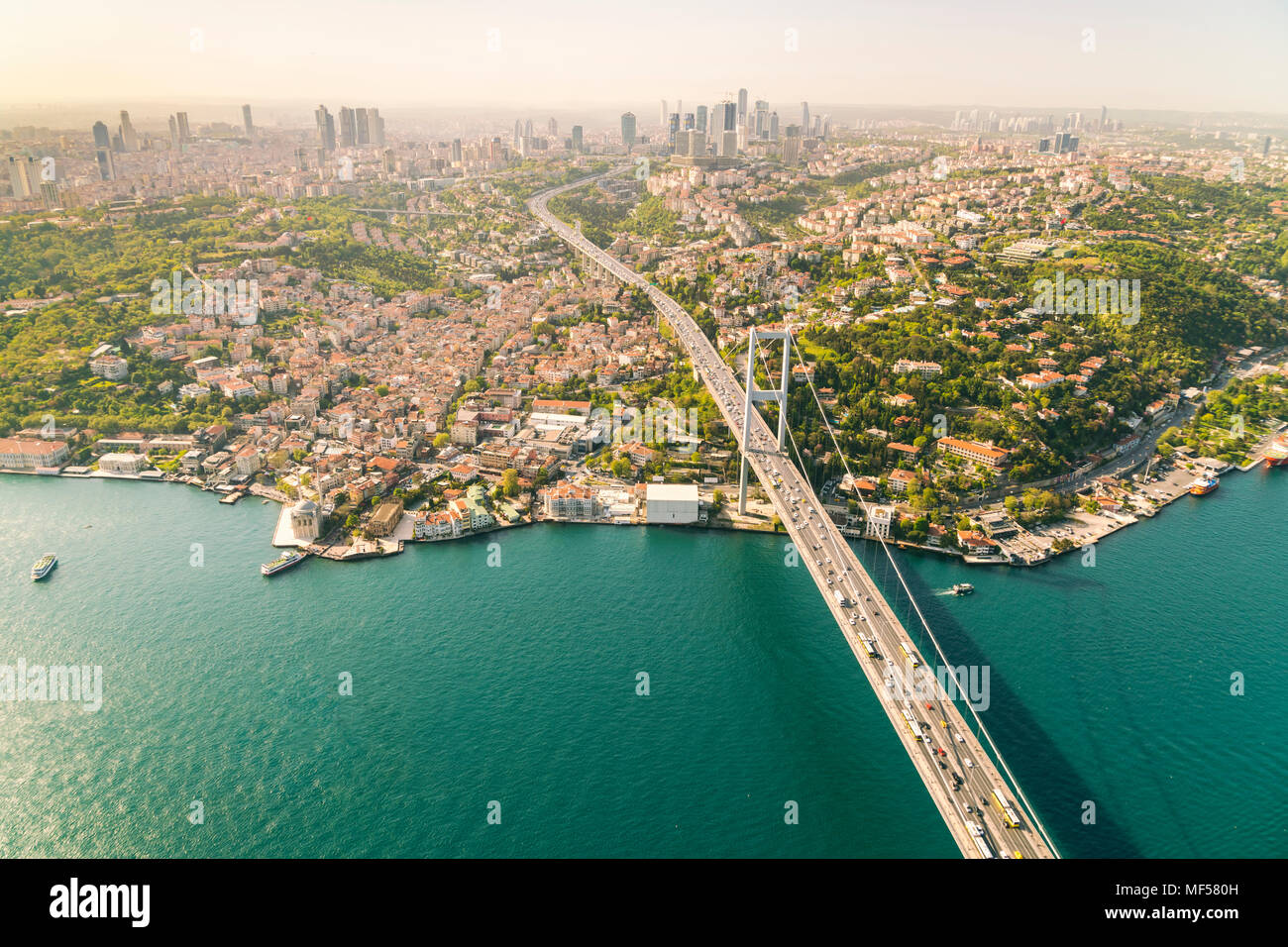 Turkey, Bosporus bridge and the european Istanbul in the background - Stock Image