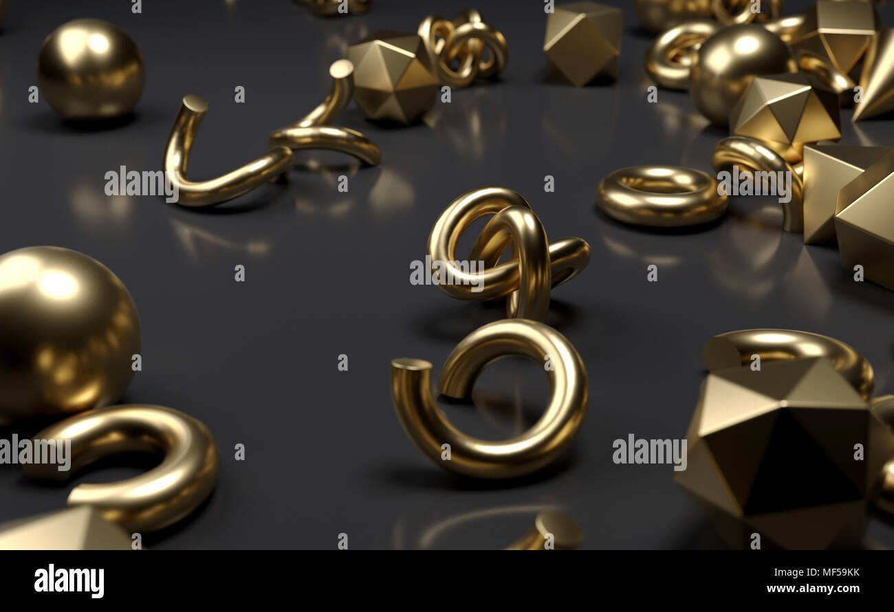 3D Rendering Of Different Type Of Geometric Realistic Looking Primitive Objects - Stock Image