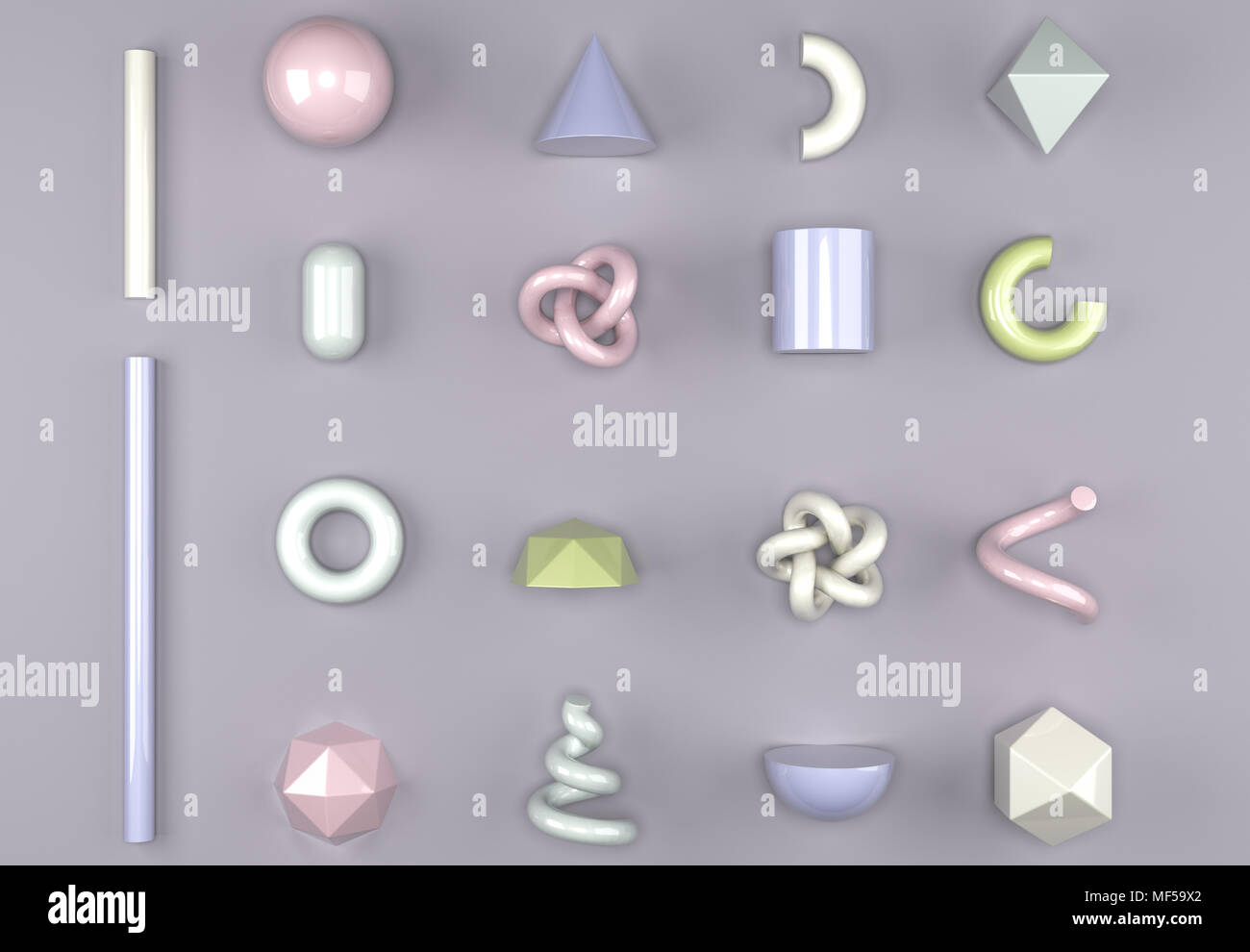 3D Rendering Of Different Type Of Geometric Realistic Looking Primitive Objects Set - Stock Image