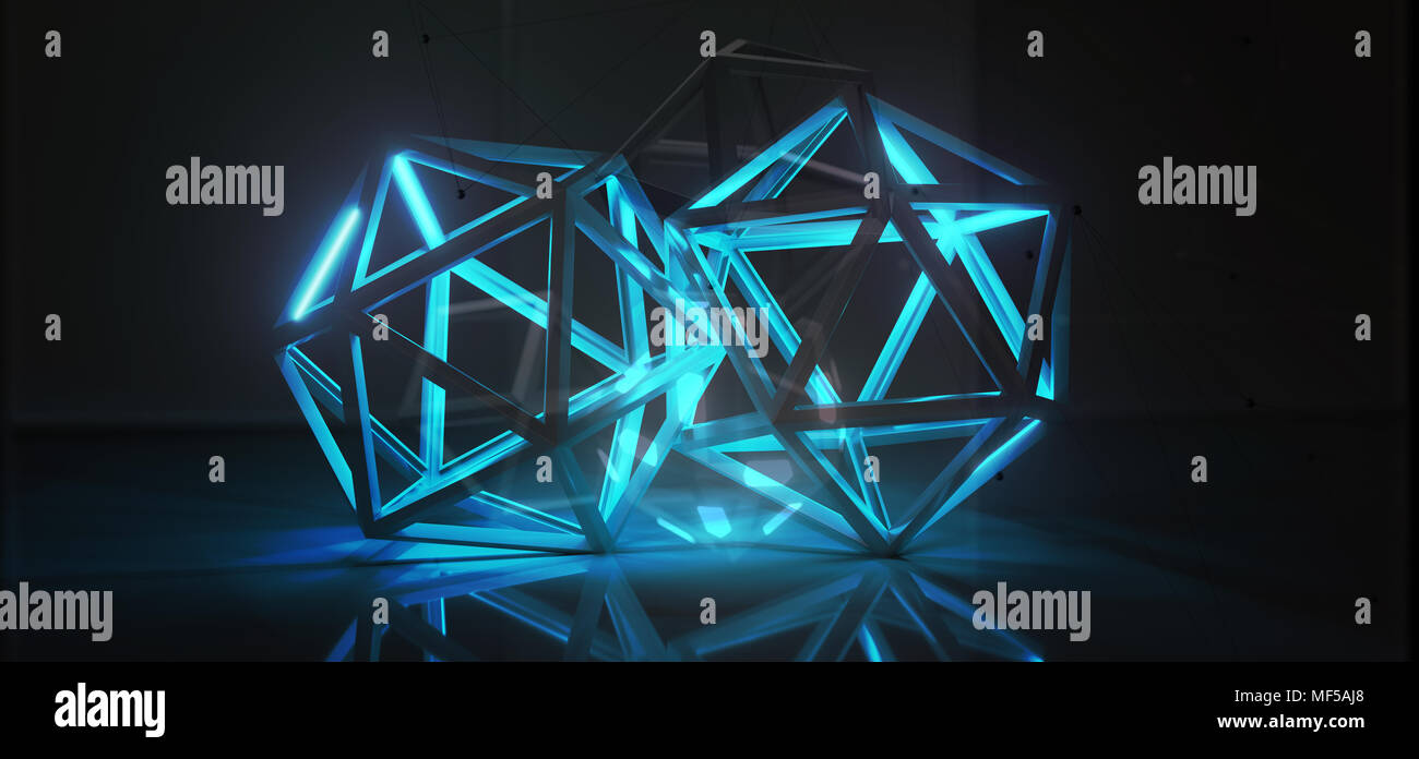 3D Rendering Of Abstract Prisms With Lights On It With Connection Net Mesh. Blockchain Technology Concept. - Stock Image