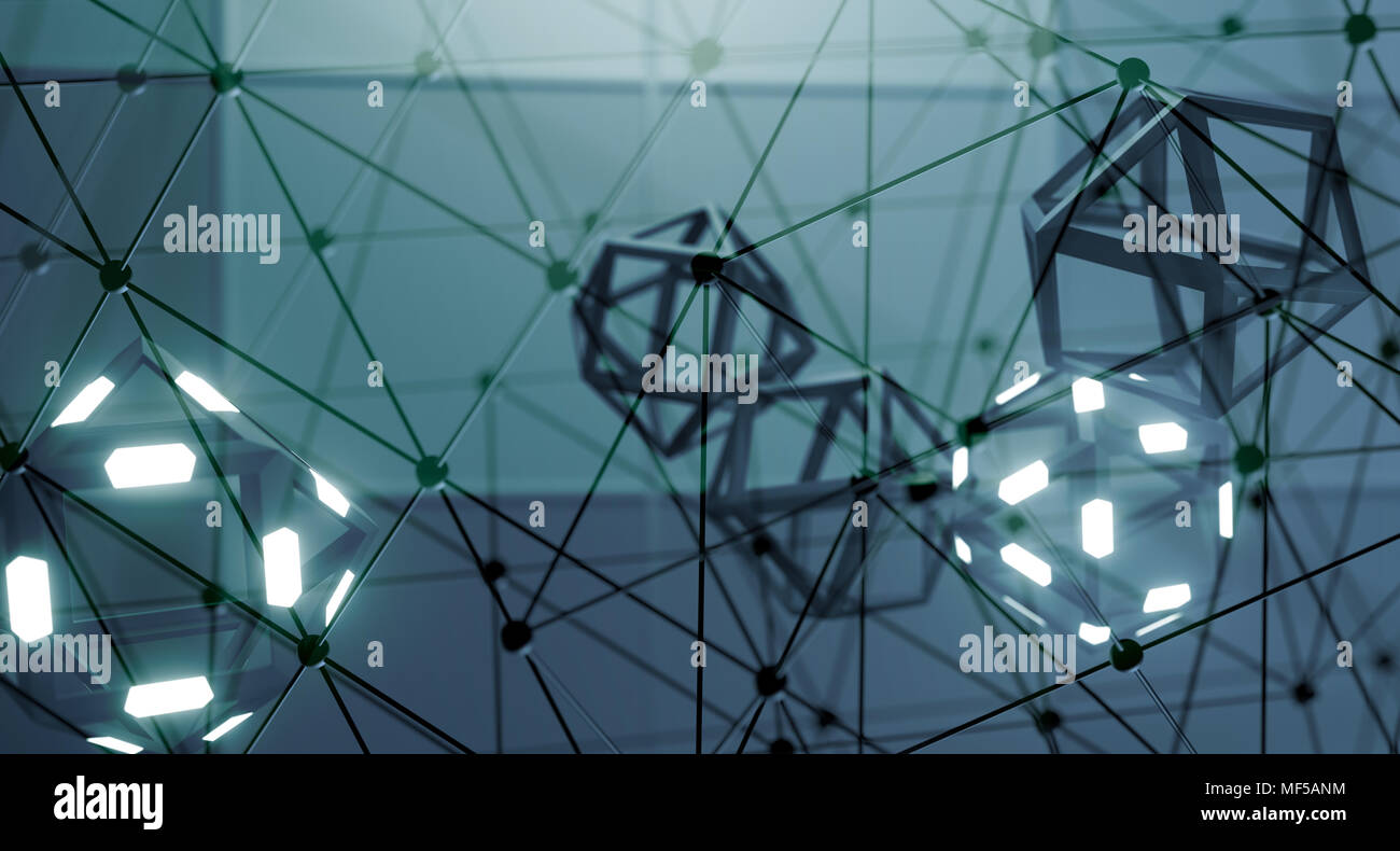 3D Rendering Of Abstract Prism With Lights On It With Connection Net ...