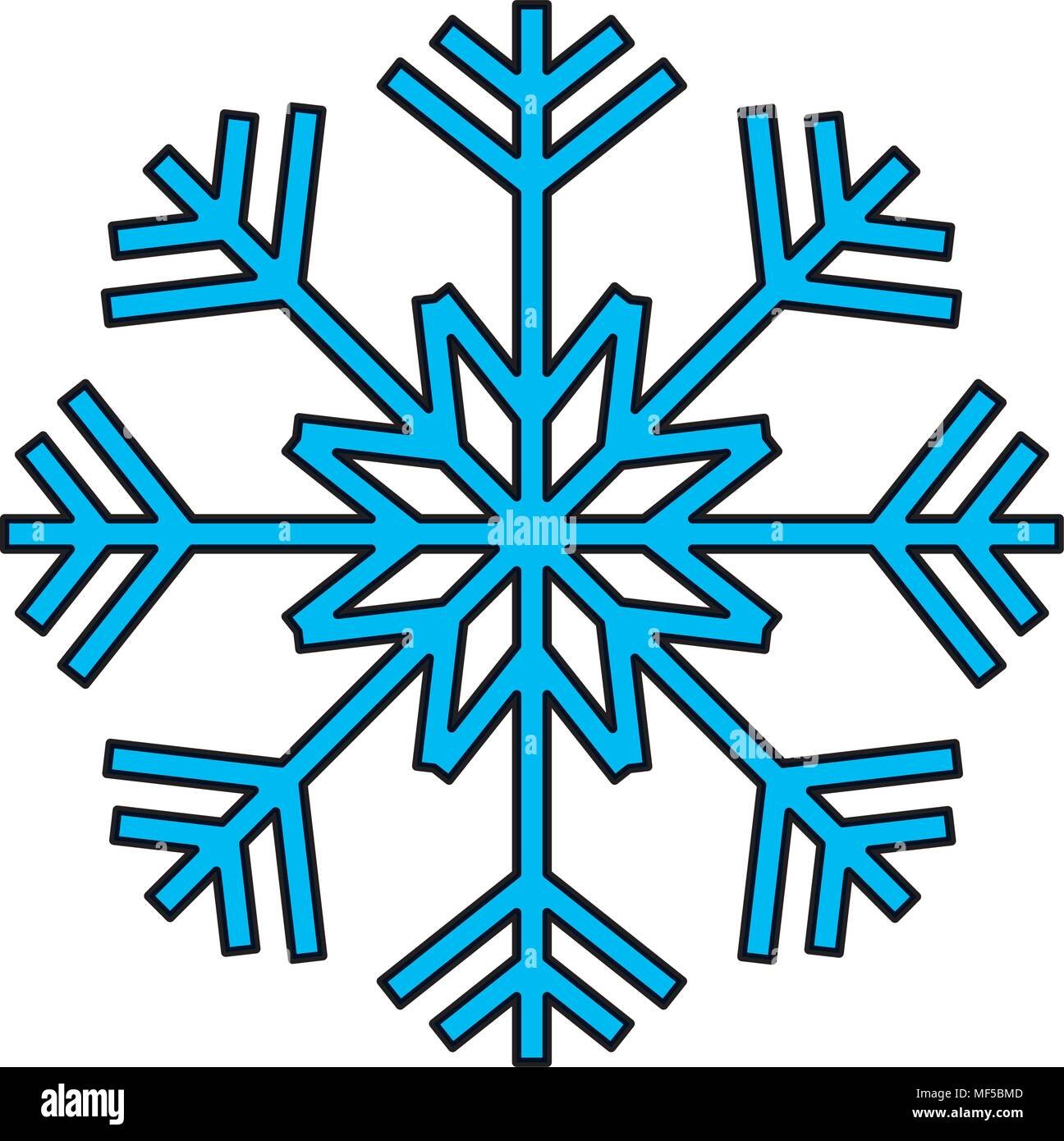 color nature snowflake design in winter season - Stock Image