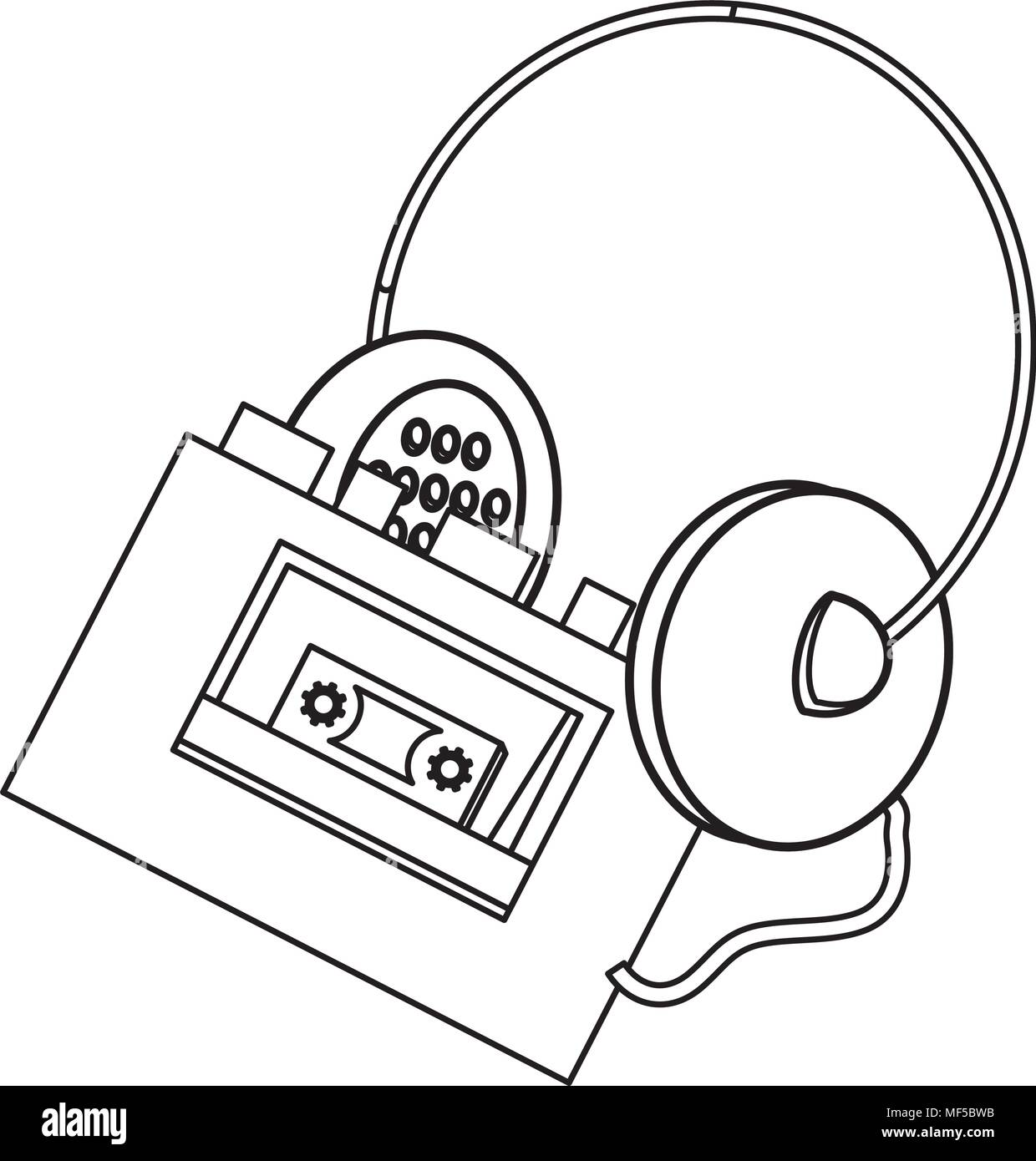 Cassette Tape Headphones Stock Photos & Cassette Tape Headphones