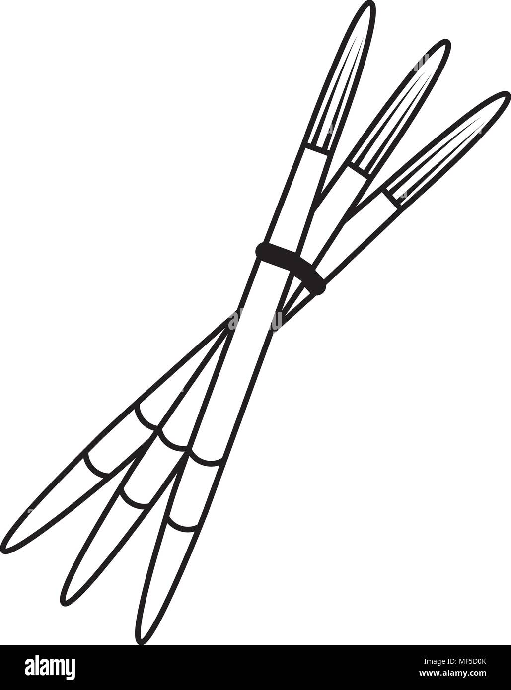 line drawing paintbrushes art and decoration tool - Stock Image