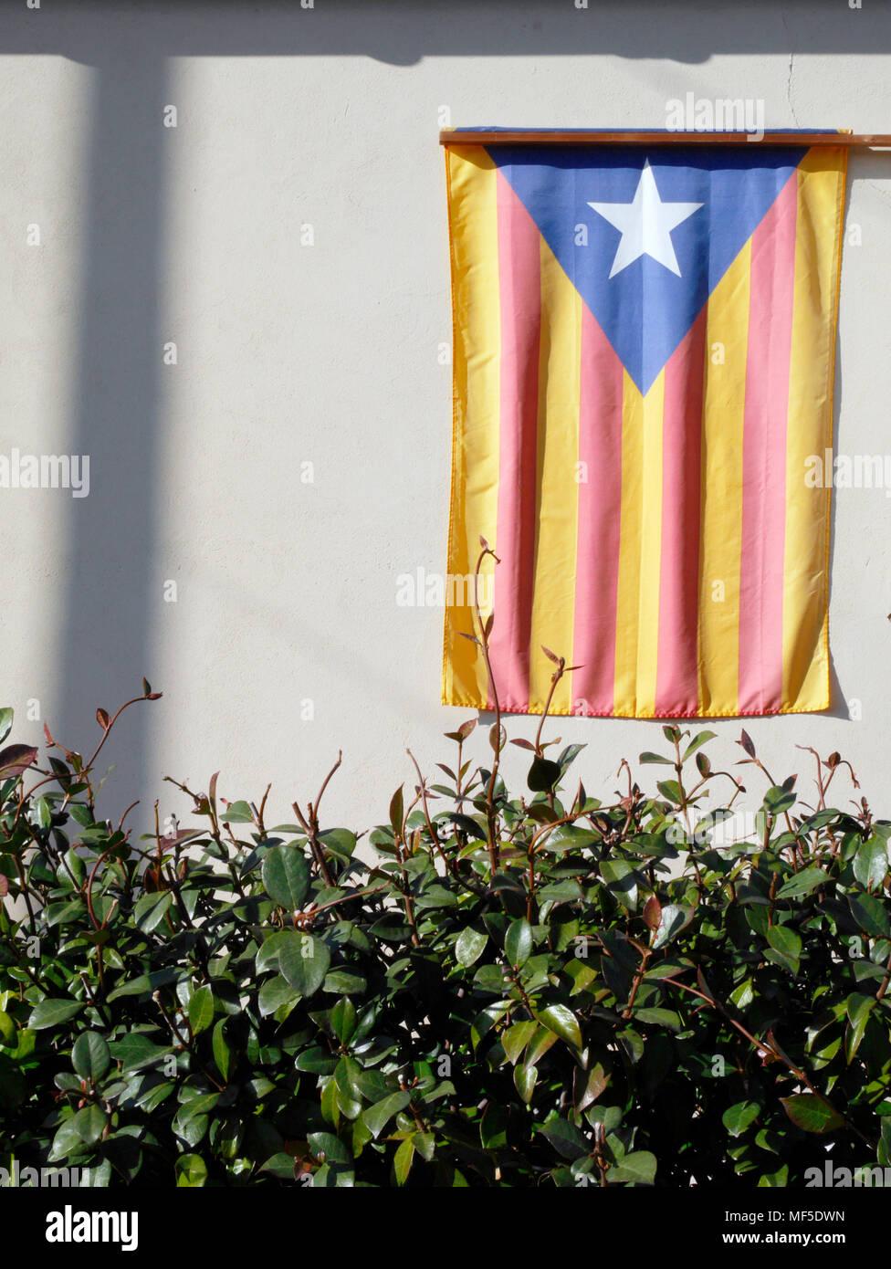 Spain, Catalonia, Catalonian Flag - Stock Image