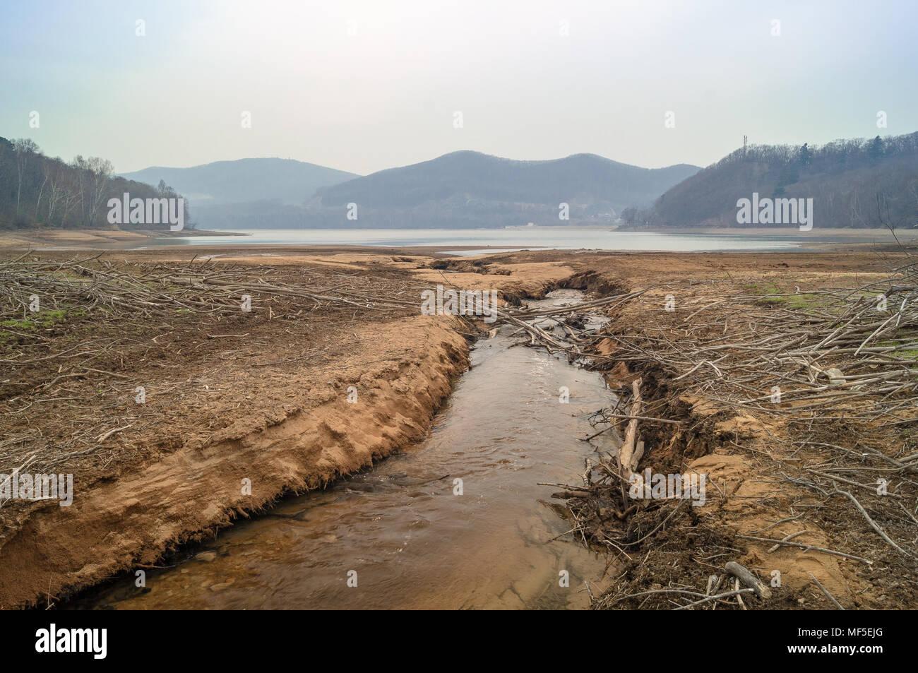 View of the Vladivostok city reservoir of Lake Sedanka. Far Eastern landscape. - Stock Image