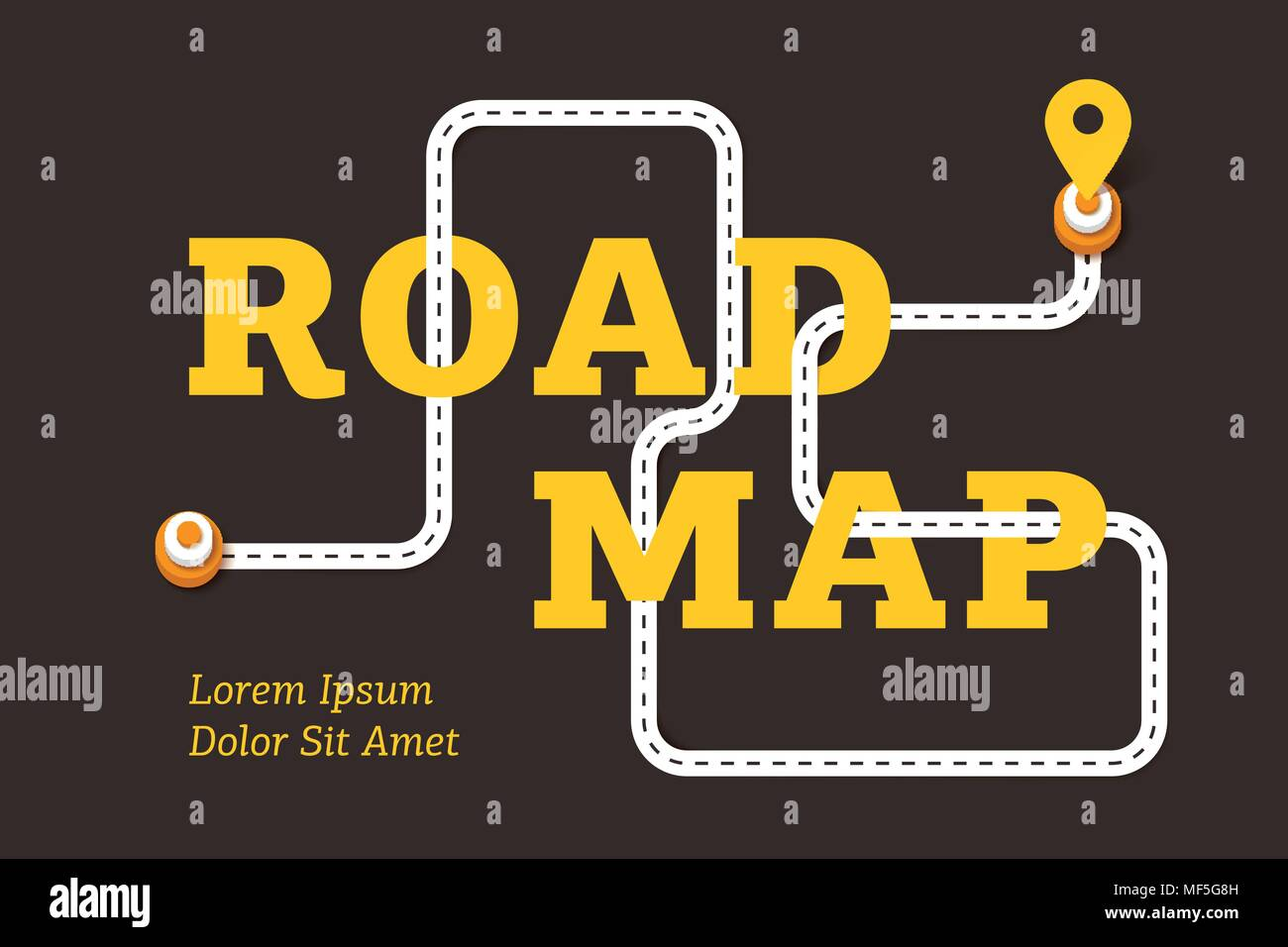 Road map business concept with winding road and pin pointer ... Direction Road Map on
