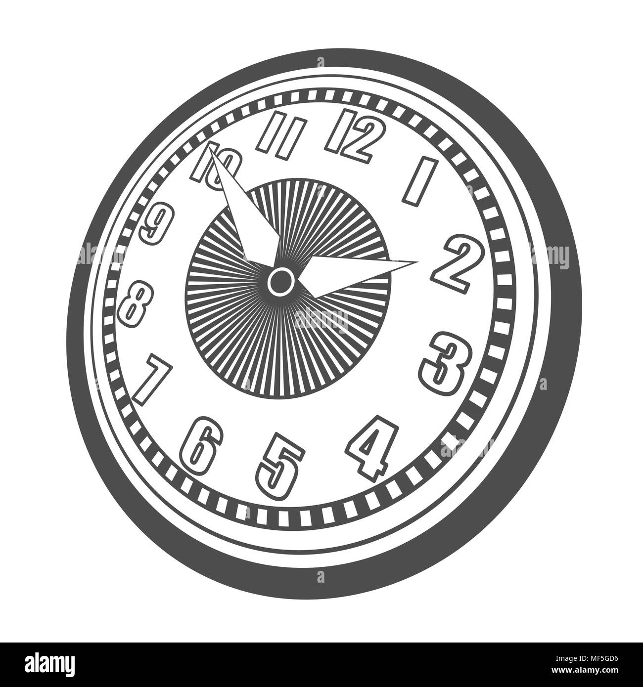 Classic design mechanical wristwatch isolated on white background. Clock face with hour, minute and second hands. Vector illustration. - Stock Image