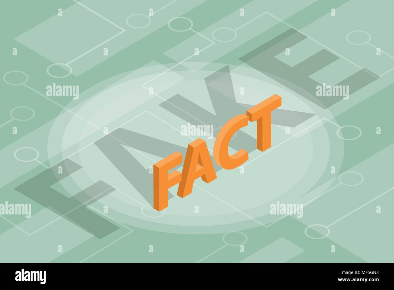 fact vs fake new concept illustration with isometric - Stock Vector