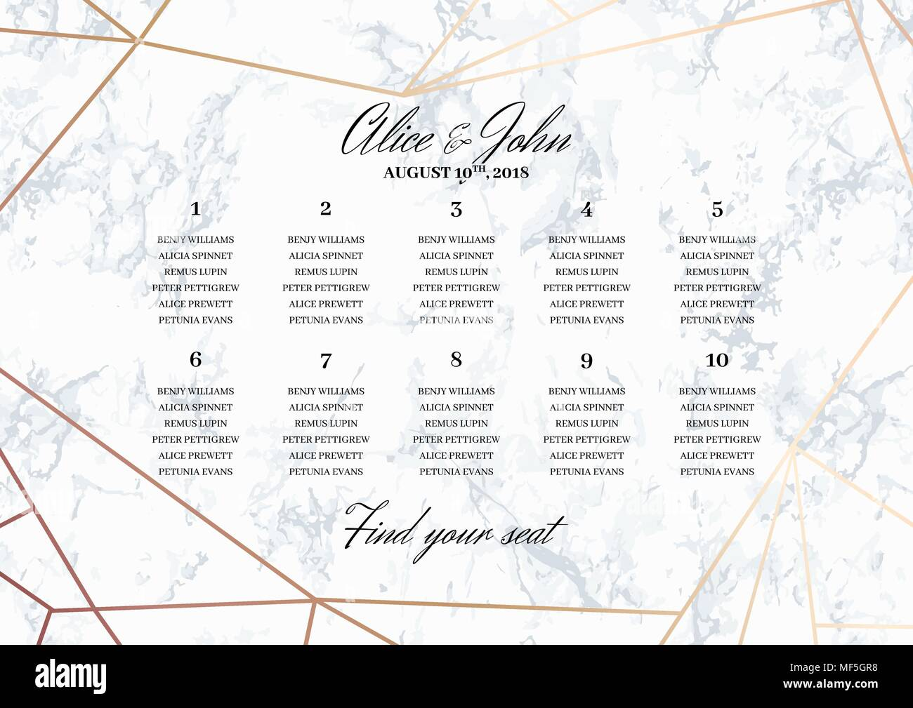 Wedding Seating Chart Poster Template. - Stock Vector