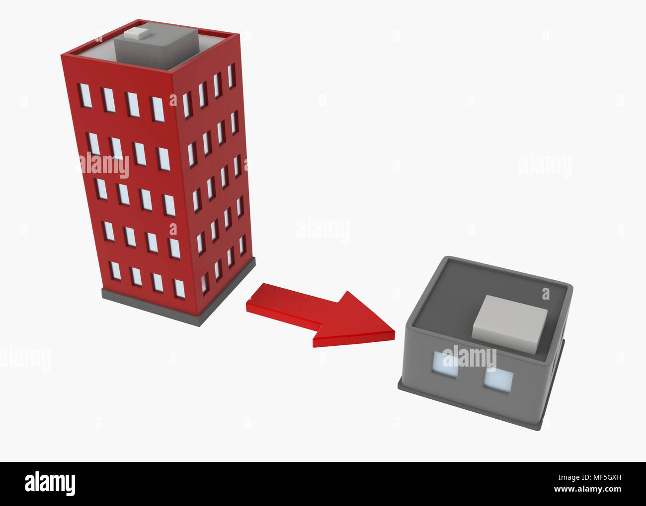 Cartoon 3d buildings, over white, isolated Stock Photo