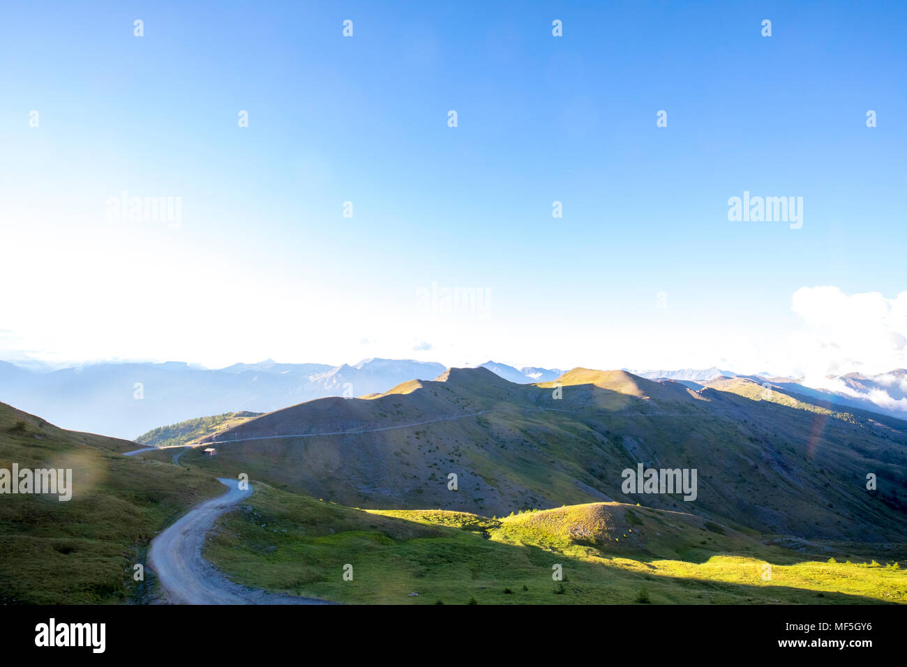 Italy, Piemont, West Alps, Colle dell'Assietta, Colle di Sestriere, Aerial view Stock Photo