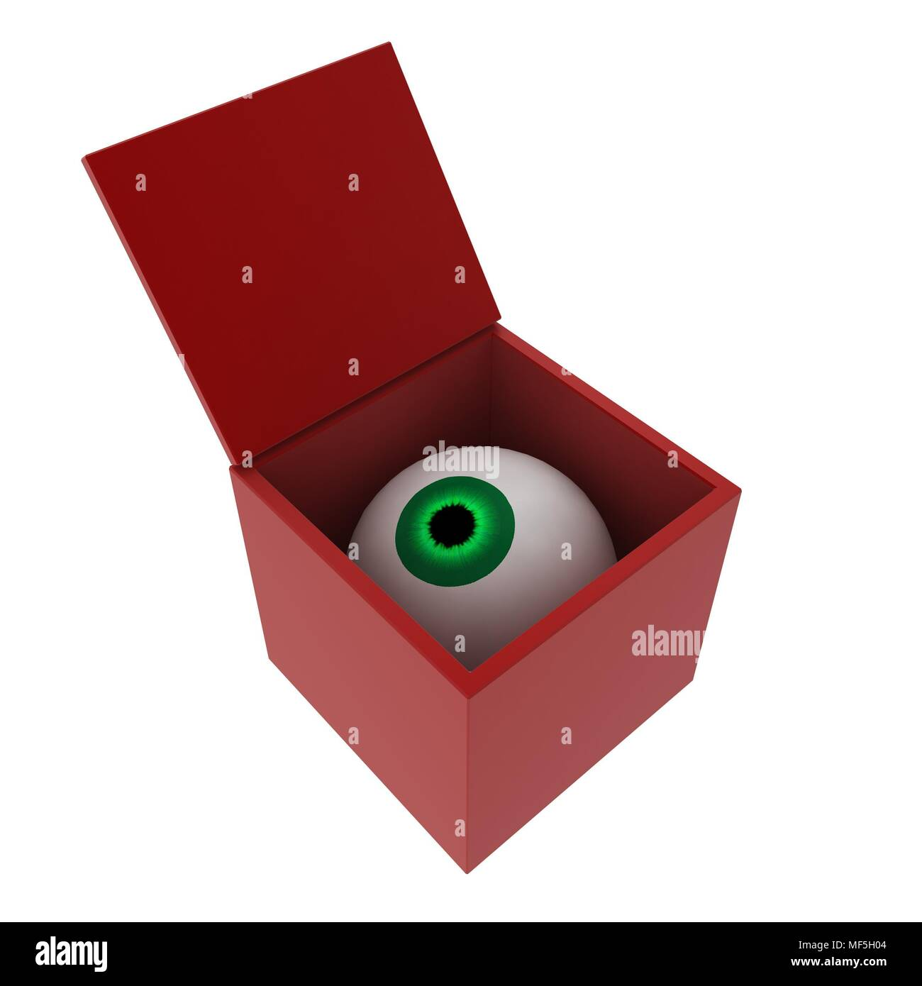 A 3d eyeball in an opening red box - Stock Image