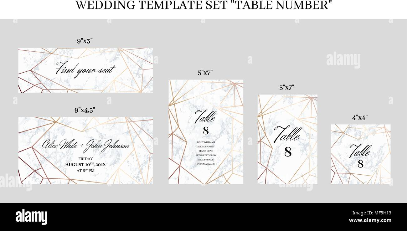 Wedding Template Set Table Number Cards Stock Vector Image Art