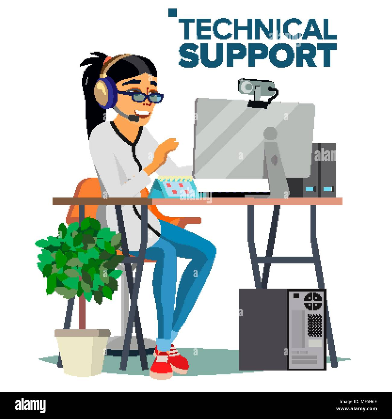 Technical Support Vector. Online Operator. Specialist Ready To Solve ...