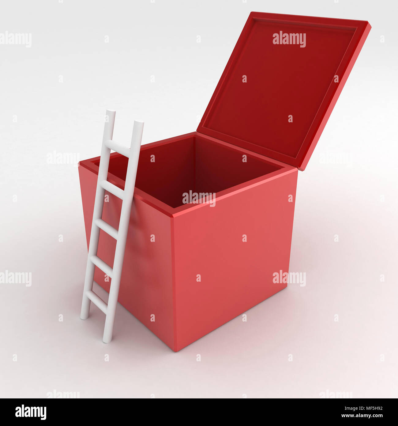 3d ladder box, on white surface - Stock Image