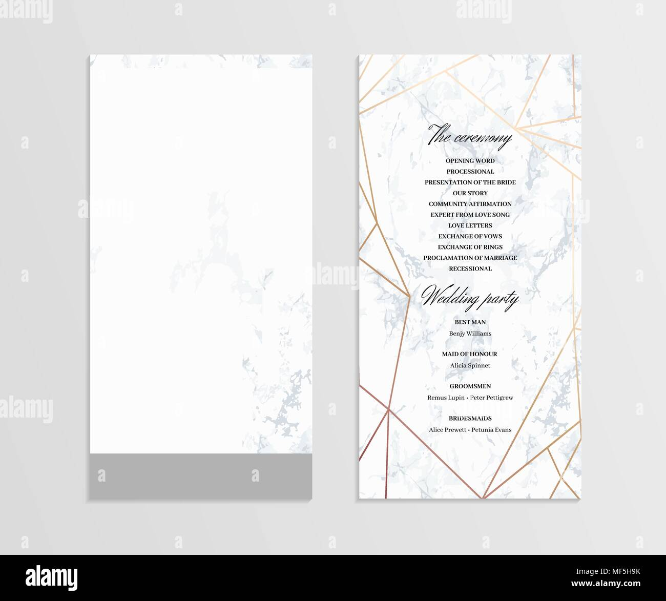 double sided wedding program template stock vector art