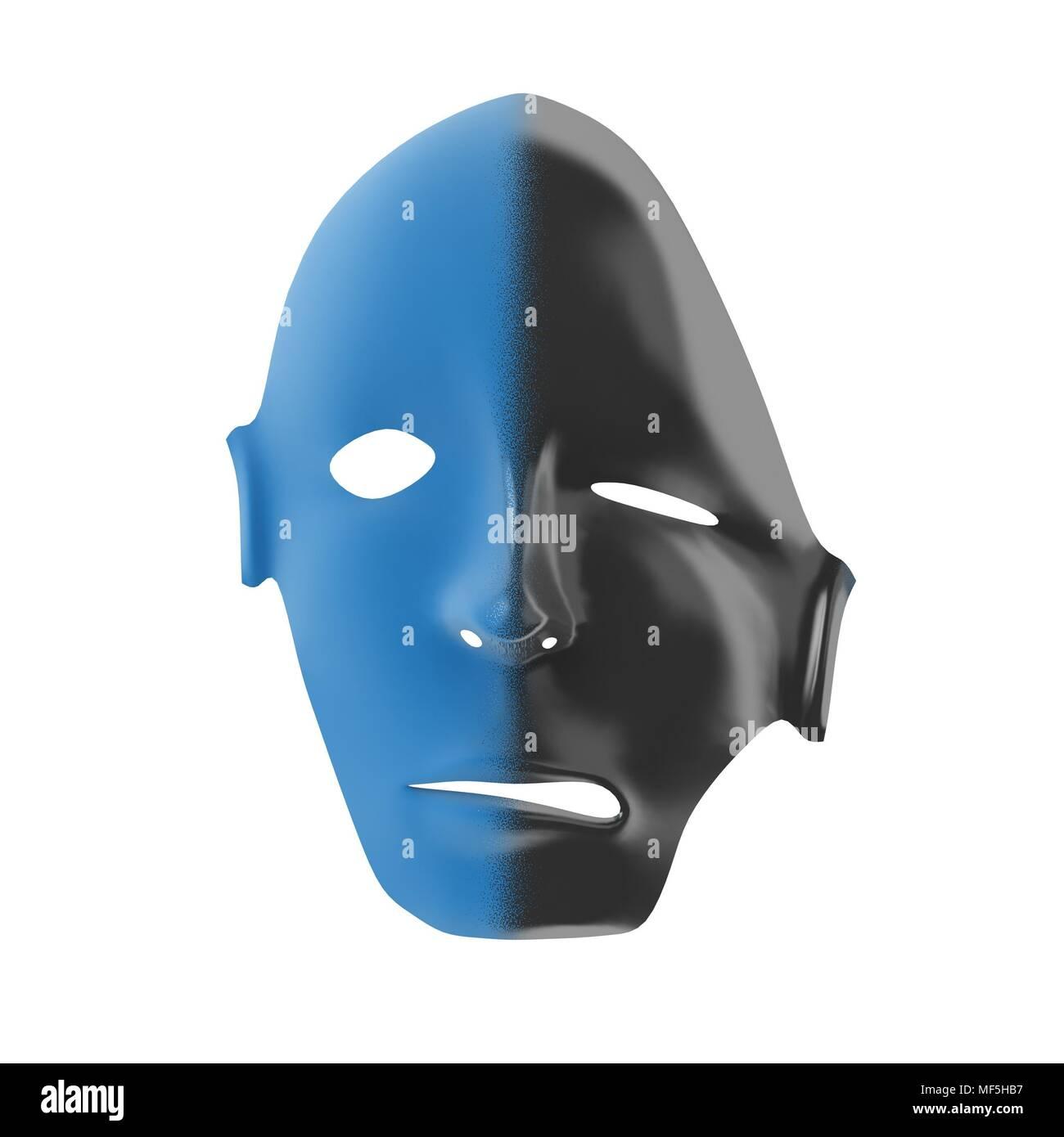 Plastic 3d mask, 2 color, half melting - Stock Image
