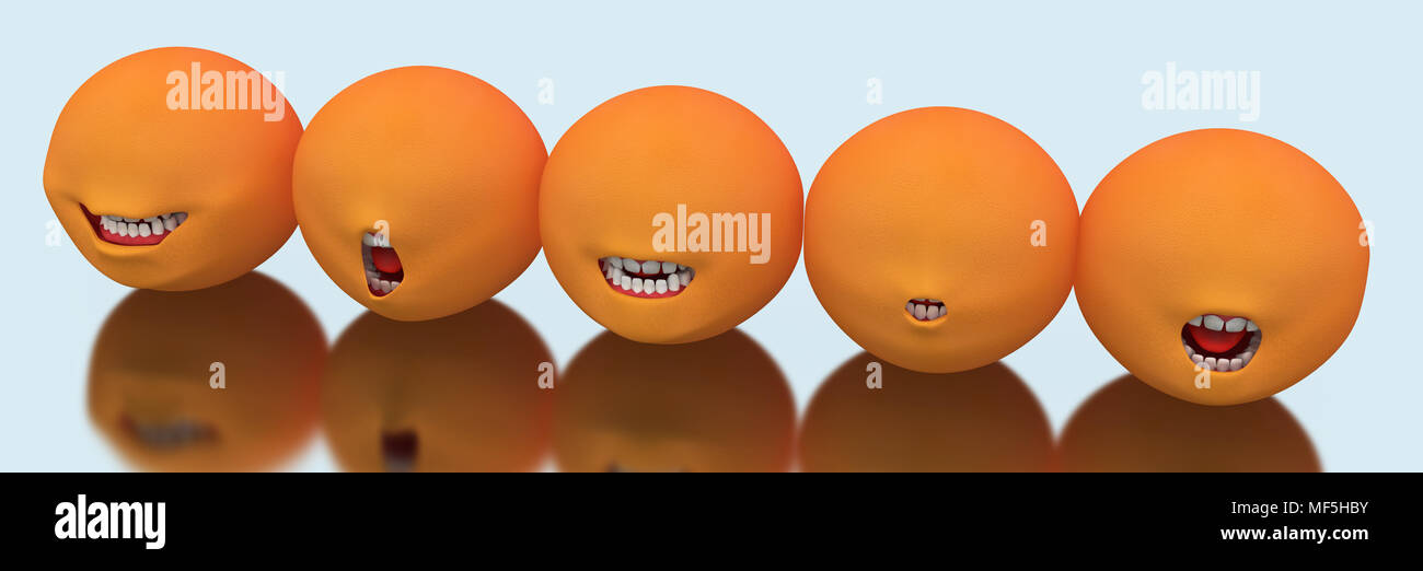 Line of 3d mouth expressions, over reflective surface - Stock Image