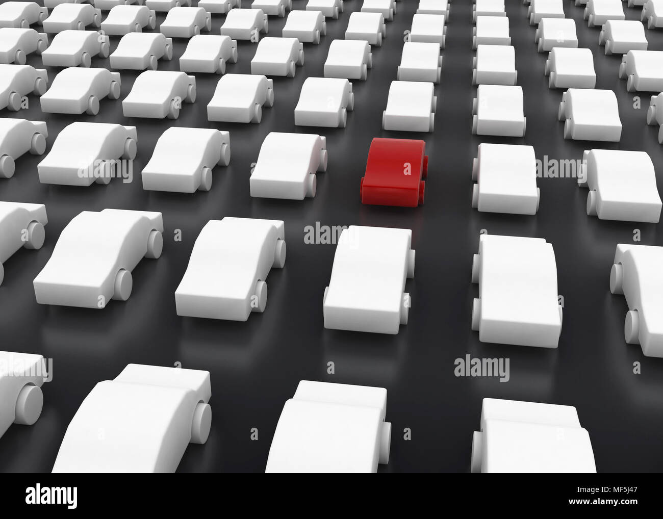 Rows of 3d car symbols, horizontal - Stock Image