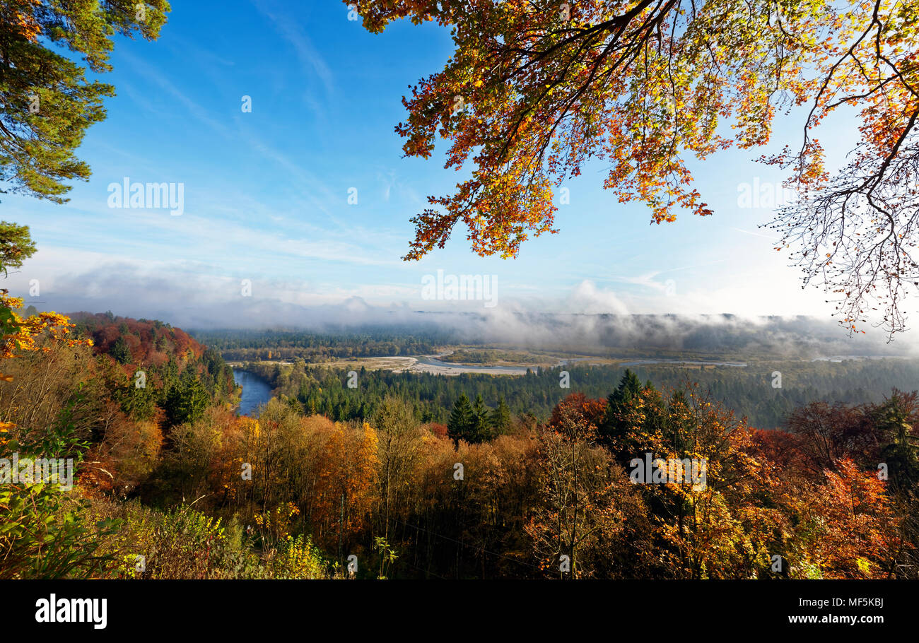 Germany, Bavaria, Icking, view from Schlederloh to Isar Valley with Pupplinger Au - Stock Image