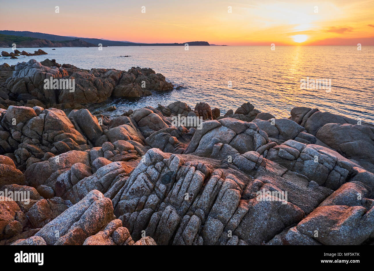 Italy, Sardinia, Rena Majori at sunset - Stock Image