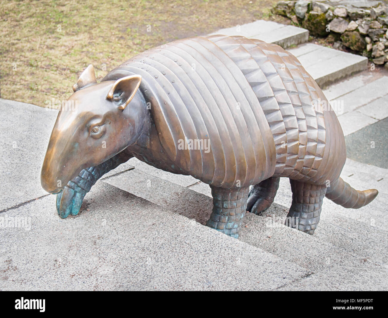 Riga Latvia April 17 2018 Armadillo Statue By Liene Mackus At The Children S Playground Labyrinth Stock Photo Alamy