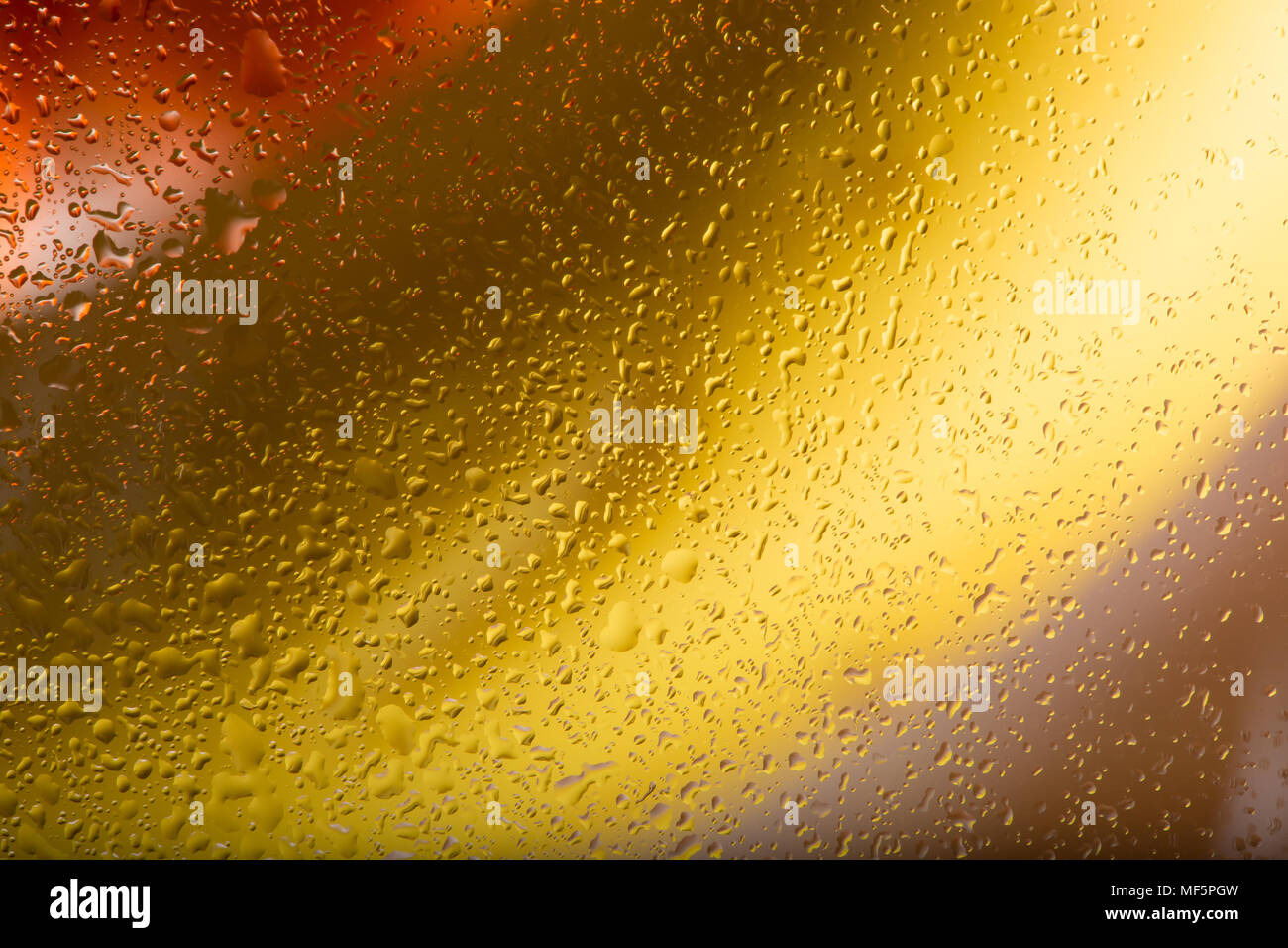 Colourful landscape shot: banana & orange fresh fruit behind obscured, wet glass. Interesting screen saver design. Abstract / background capture. - Stock Image