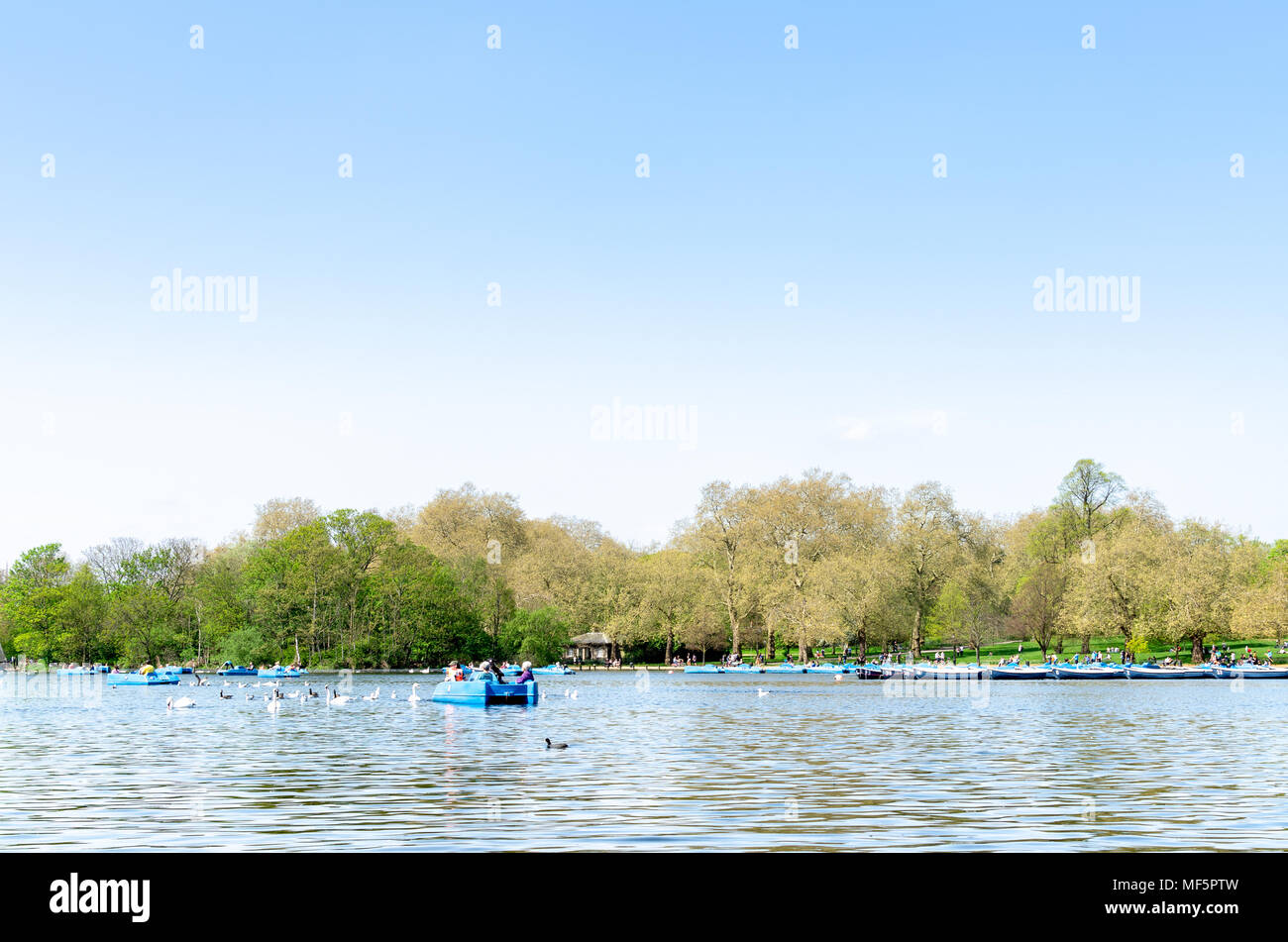 Tourists on the Serpentine at Hyde Park under a blue sky, London - Stock Image