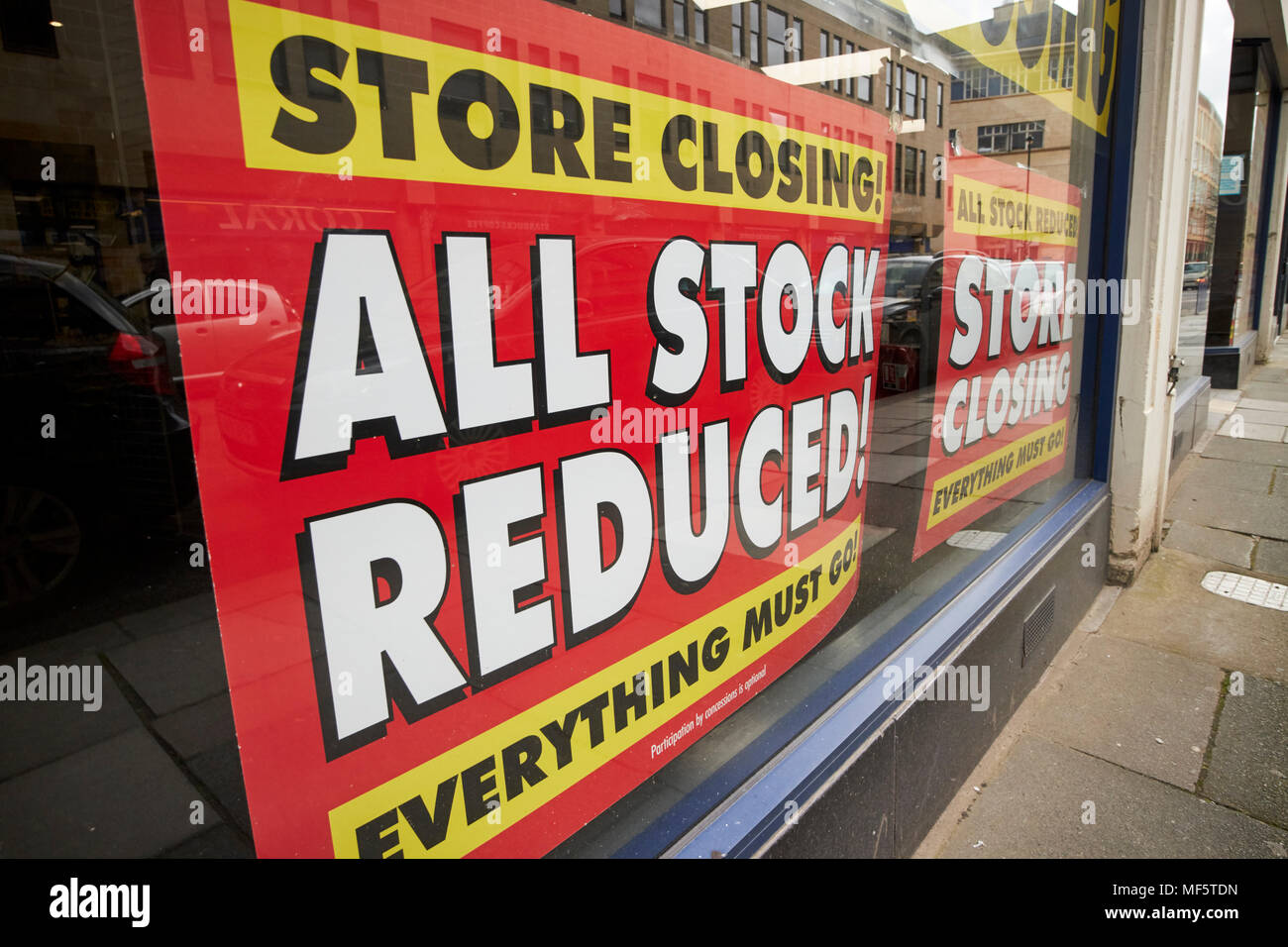 maplin store with all stock reduced store closing signs in window Bath Somerset England UK - Stock Image