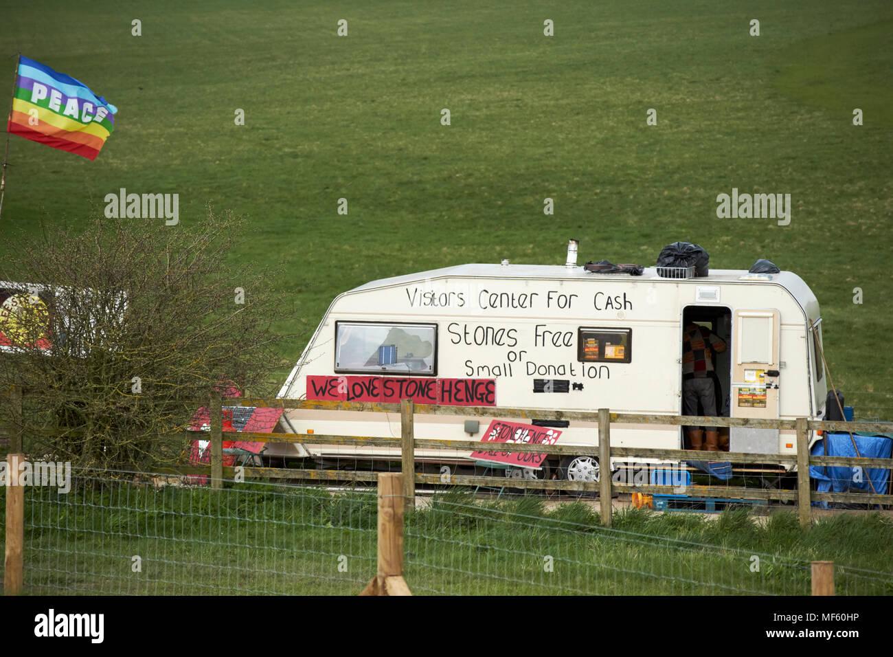 protest camp on gravel access road near Stonehenge wiltshire england uk - Stock Image