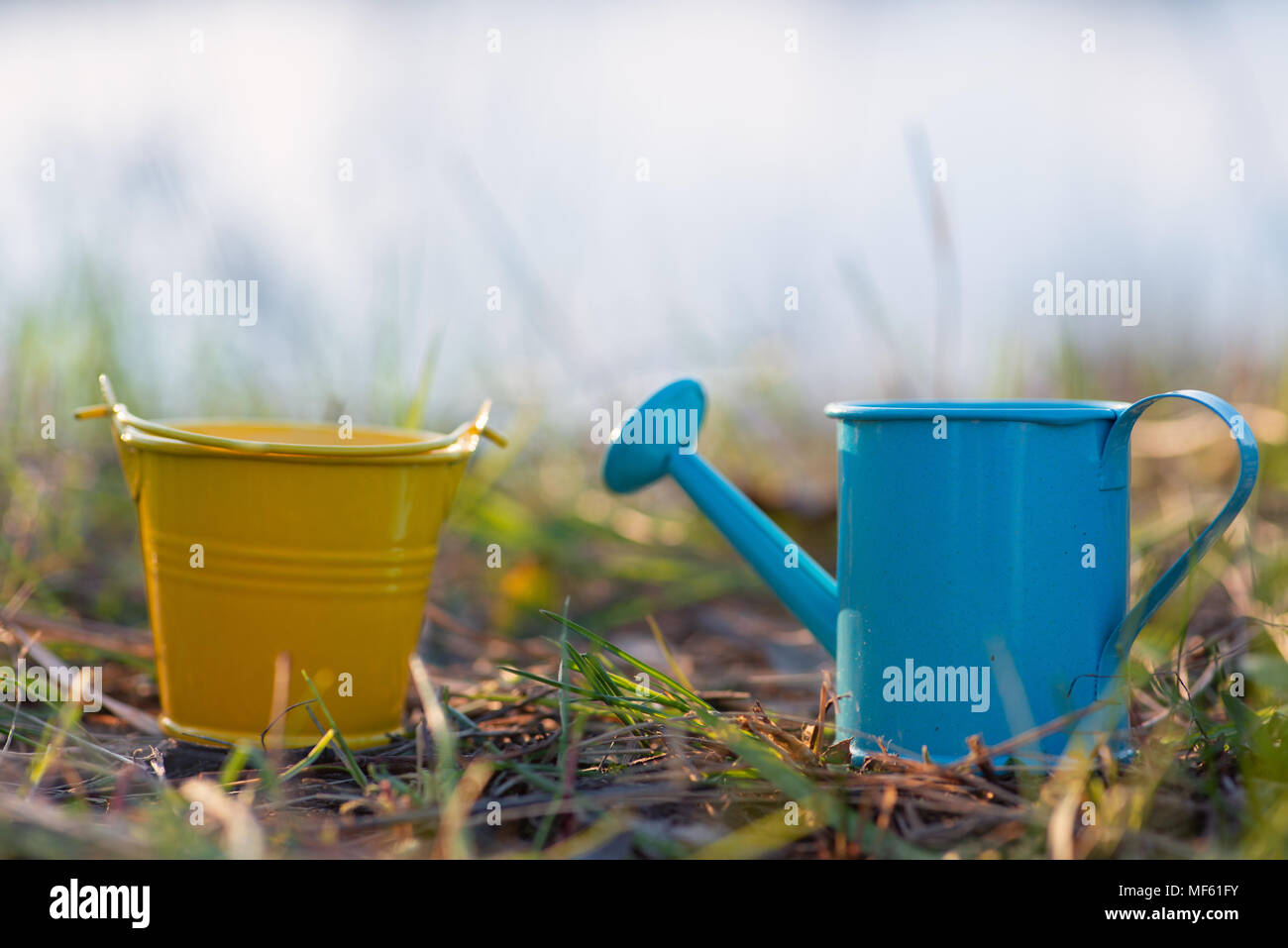 Garden watering can and bucket - Stock Image