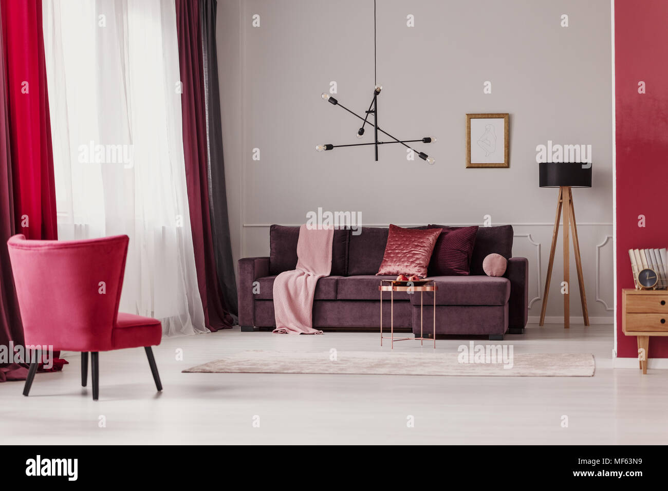 Red Chair And Poster In Spacious Living Room Interior With Purple