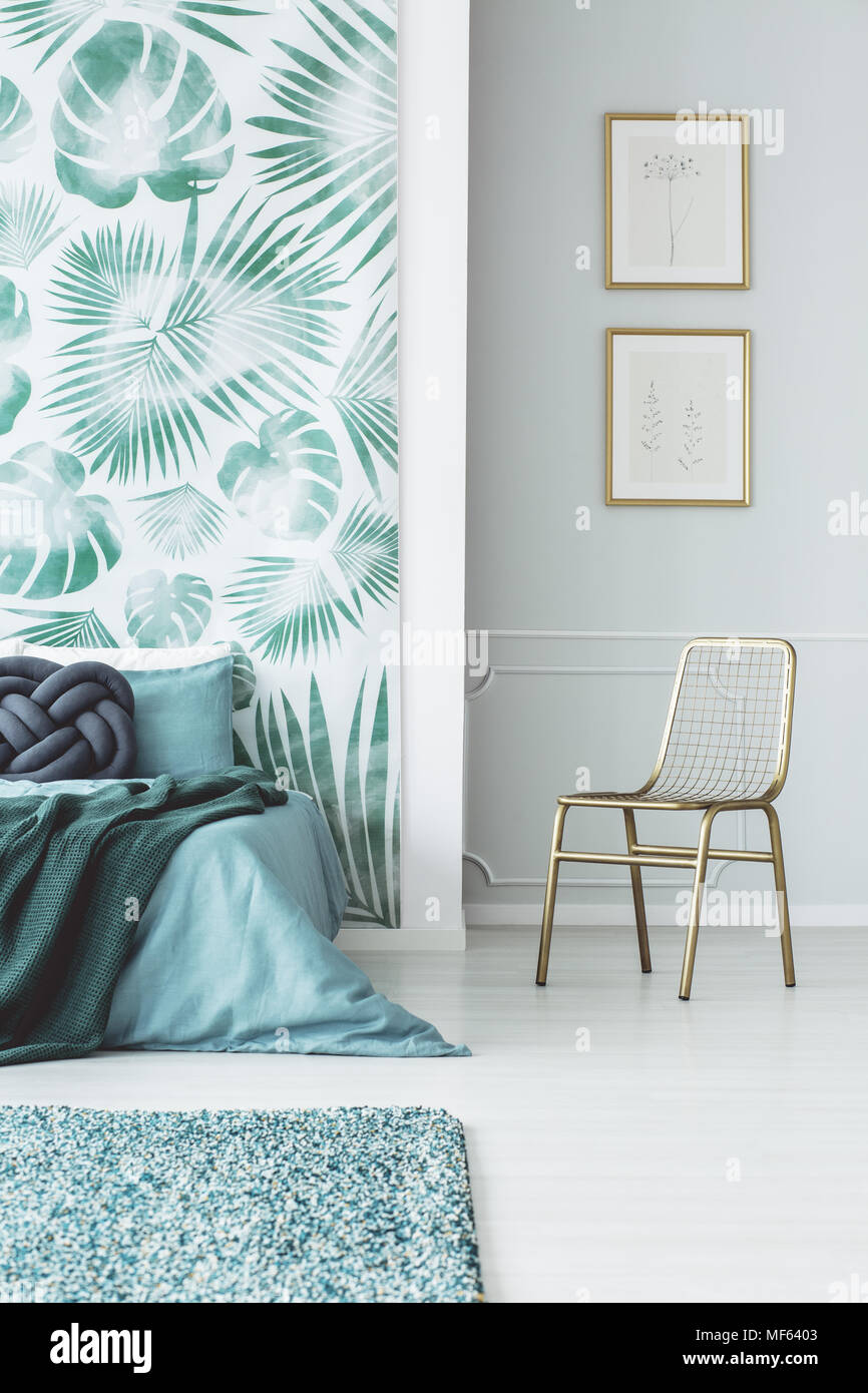 Pleasing Gold Chair Against The Wall With Posters In Bedroom Interior Machost Co Dining Chair Design Ideas Machostcouk