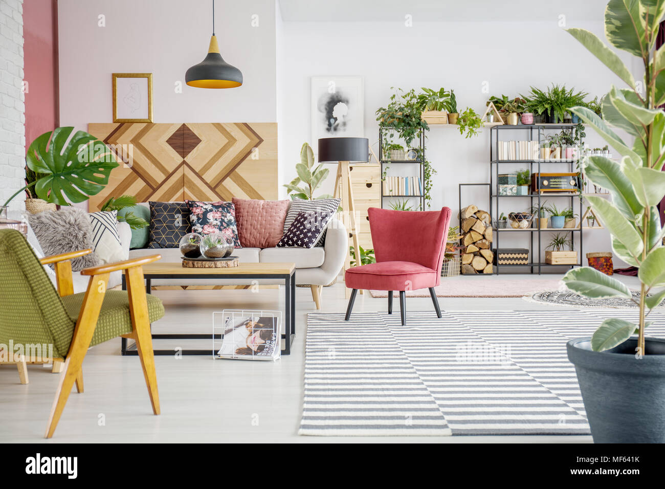 Bright Spacious Living Room Interior With Two Armchairs Sofa And
