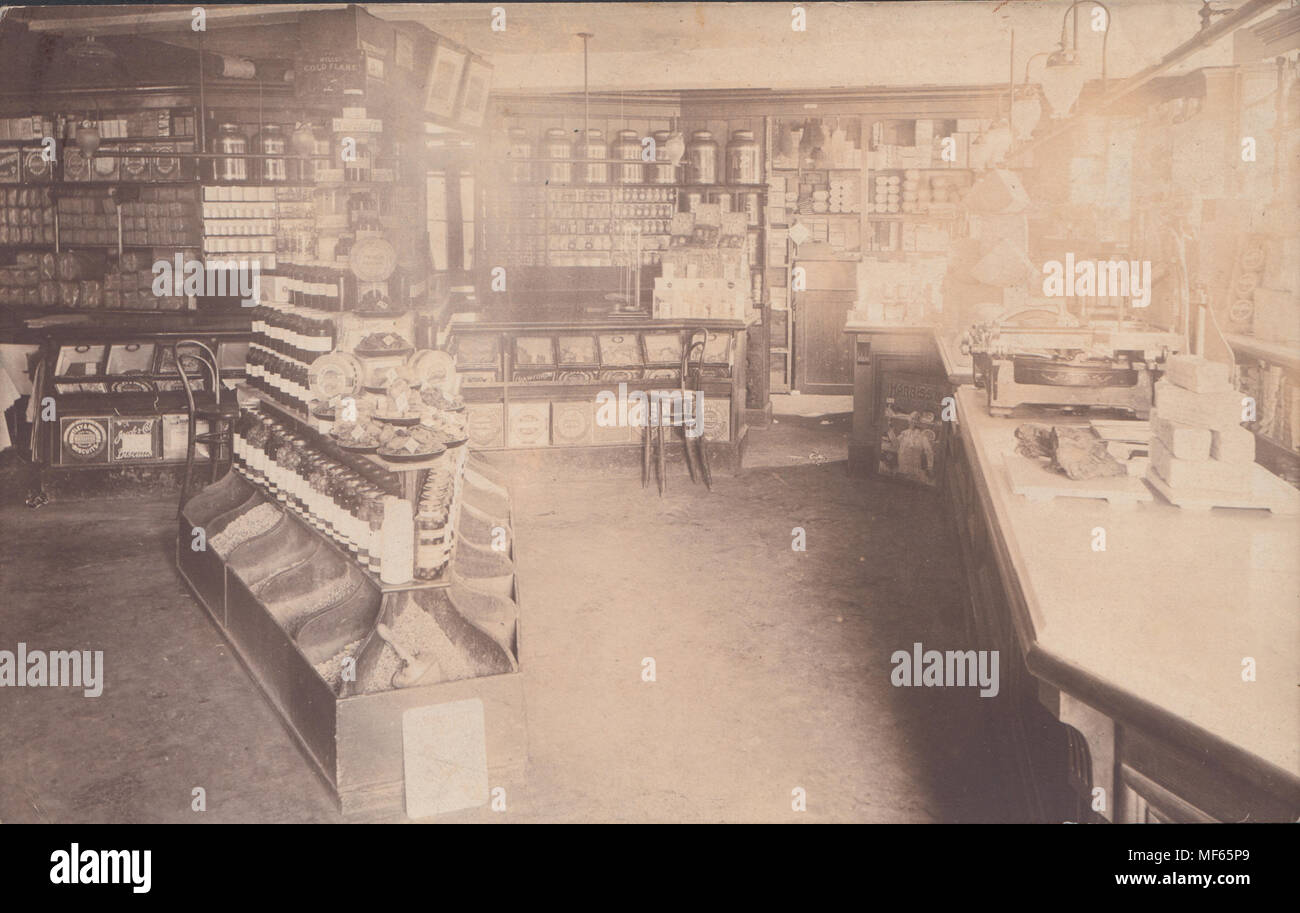 Real Photo Postcard of a Beaminster Shop Interior, Dorset, England - Stock Image