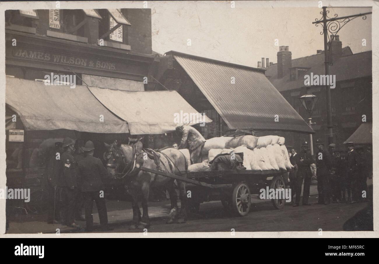 Postcard of Coal Merchant Unloading on The Hessle Road, Hull