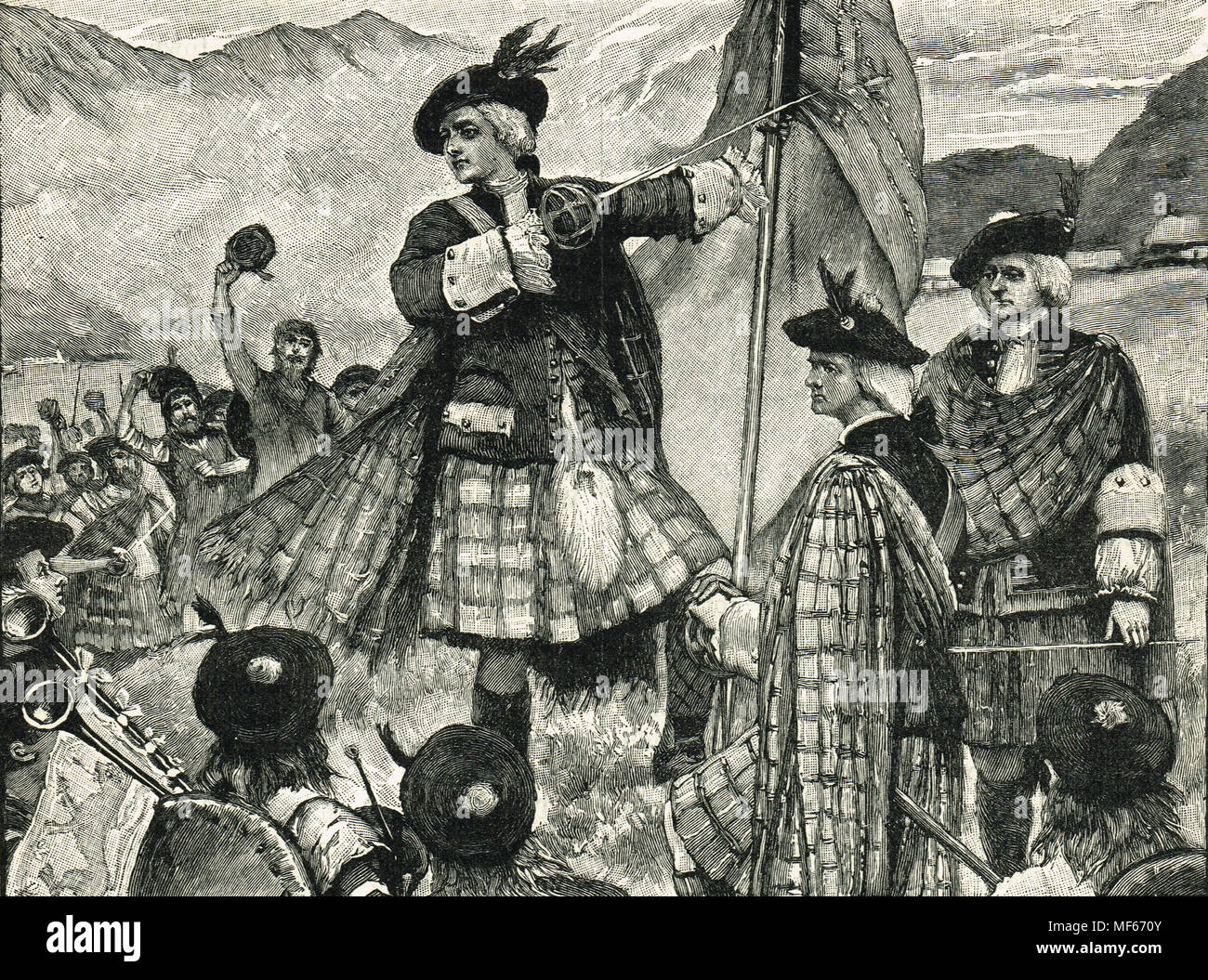John Erskine, Earl of Mar, raising the Pretender's standard, The Jacobite  rising of 1715 Stock Photo - Alamy